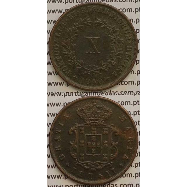 MOEDA X REIS COBRE 1840 (MBC) - D.MARIA II