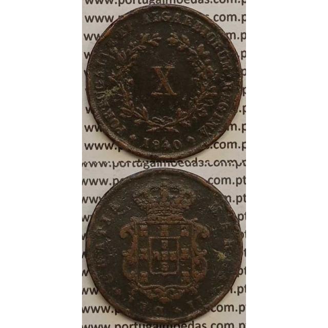 MOEDA X REIS COBRE 1840 (BC-) - D.MARIA II