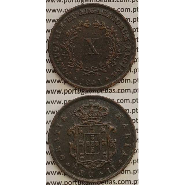 MOEDA X REIS COBRE 1841 (MBC+/BELA-) - D.MARIA II