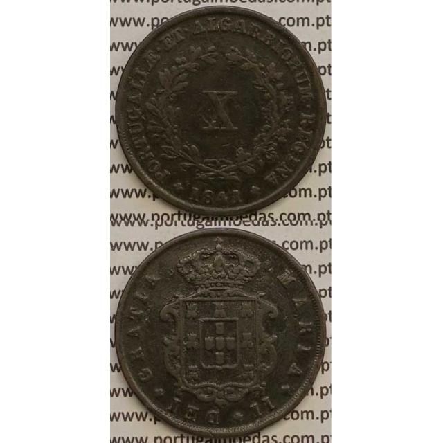MOEDA X REIS COBRE 1841 (MBC) - D.MARIA II