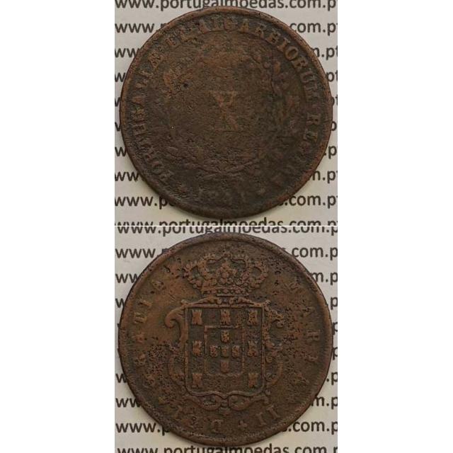 MOEDA X REIS COBRE 1841 (BC) - D.MARIA II