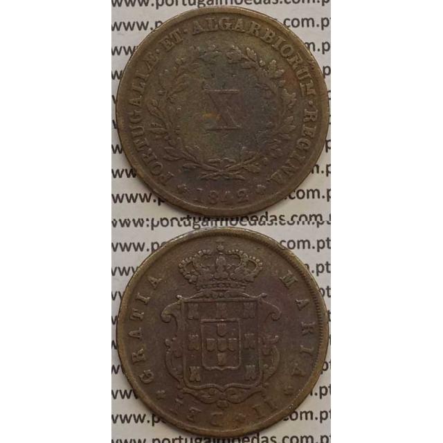 MOEDA X REIS COBRE 1842 (BC+) - D.MARIA II