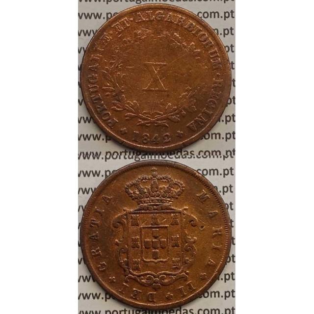 MOEDA X REIS COBRE 1842 (BC) - D.MARIA II