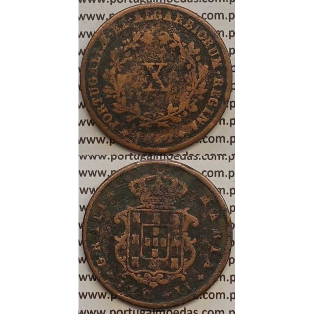 MOEDA X REIS COBRE 1842 (BC-/REG) - D.MARIA II