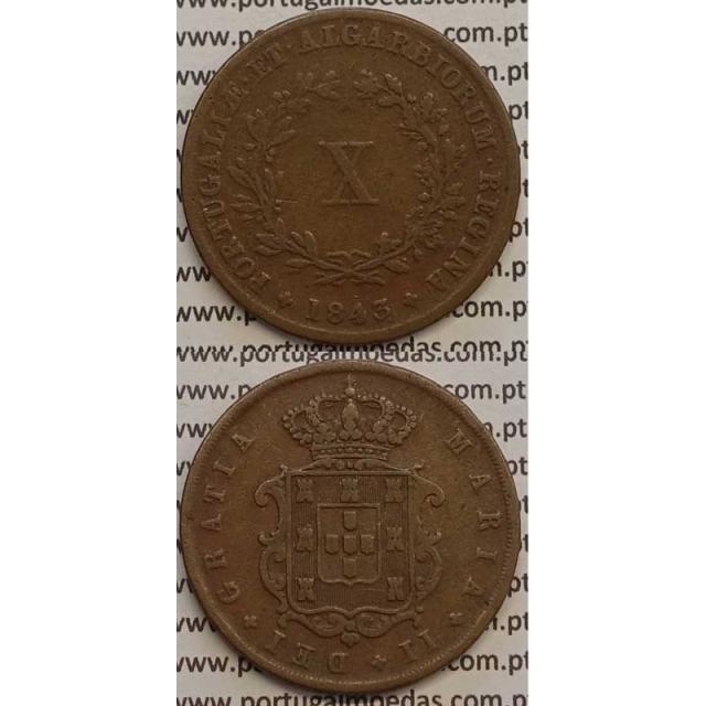 MOEDA X REIS COBRE 1843 (MBC) - D.MARIA II
