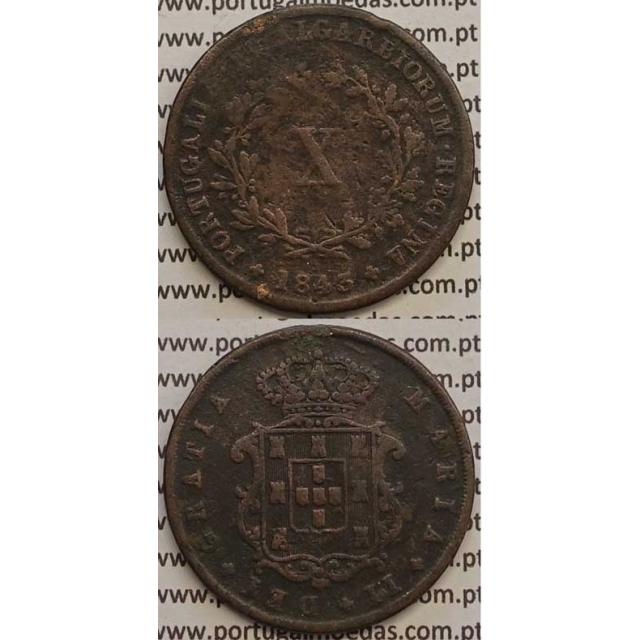 MOEDA X REIS COBRE 1843 (BC+) - D.MARIA II