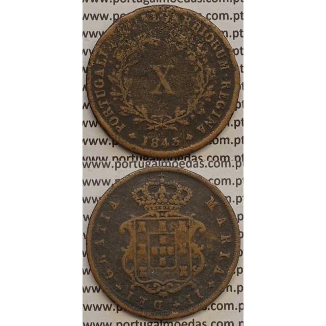 MOEDA X REIS COBRE 1843 (BC) - D.MARIA II