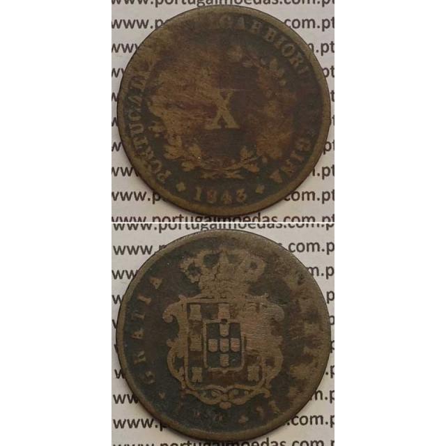 MOEDA X REIS COBRE 1843 (BC-) - D.MARIA II