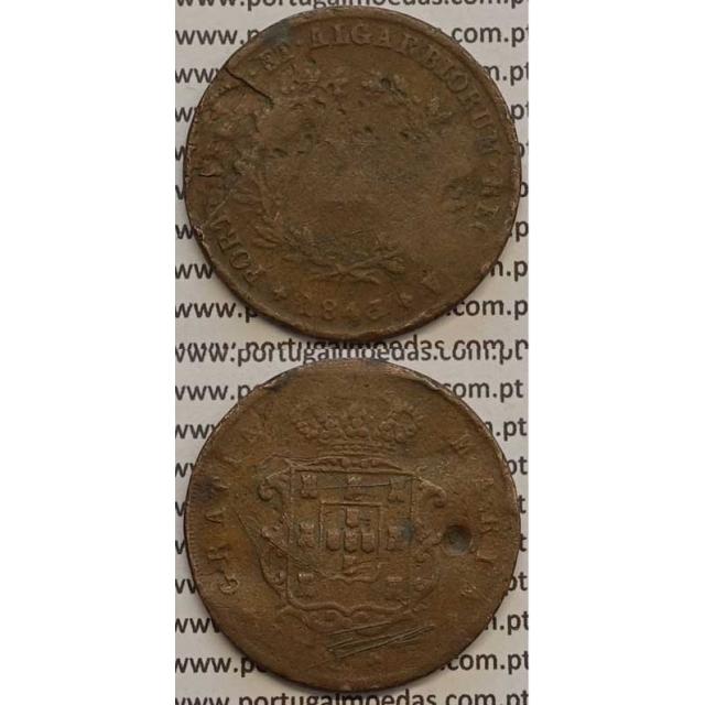 MOEDA X REIS COBRE 1843 (BC-/REG) - D.MARIA II