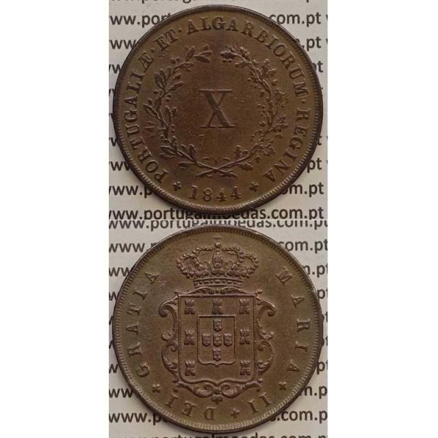 MOEDA X REIS COBRE 1844 (MBC+) - D.MARIA II