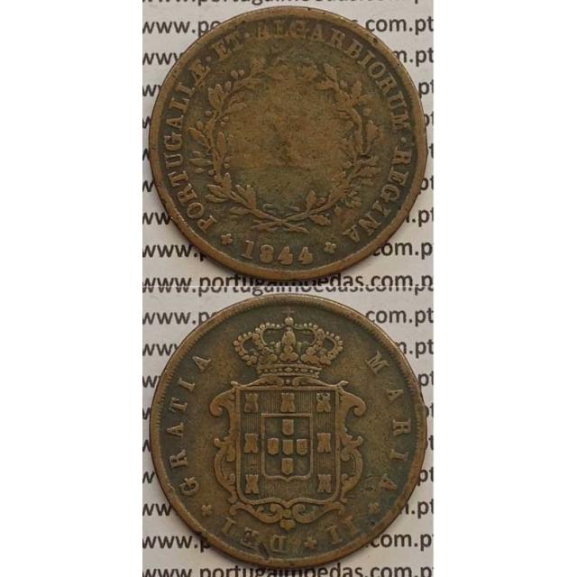 MOEDA X REIS COBRE 1844 (BC) - D.MARIA II