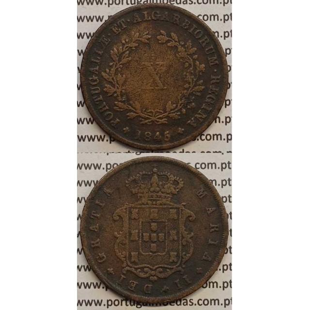 MOEDA X REIS COBRE 1845 (MBC) - D.MARIA II