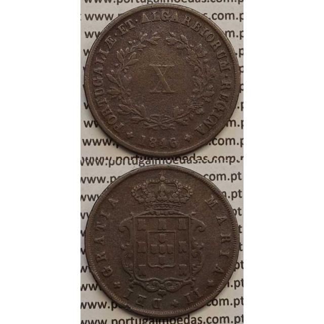 MOEDA X REIS COBRE 1846 (MBC-) - D.MARIA II