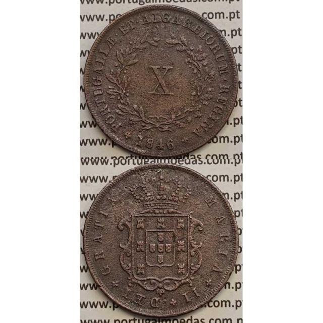 MOEDA X REIS COBRE 1846 (MBC) - D.MARIA II