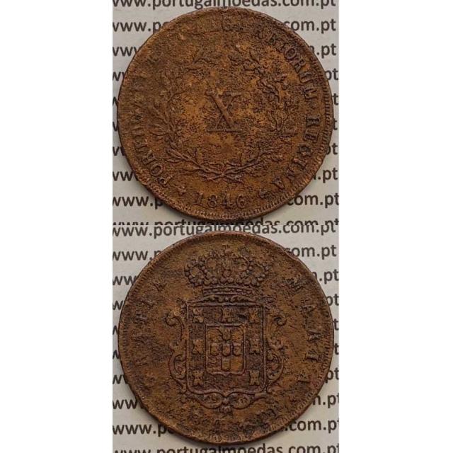 MOEDA X REIS COBRE 1846 (BC+) - D.MARIA II