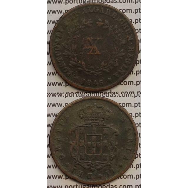 MOEDA X REIS COBRE 1846 (BC) - D.MARIA II