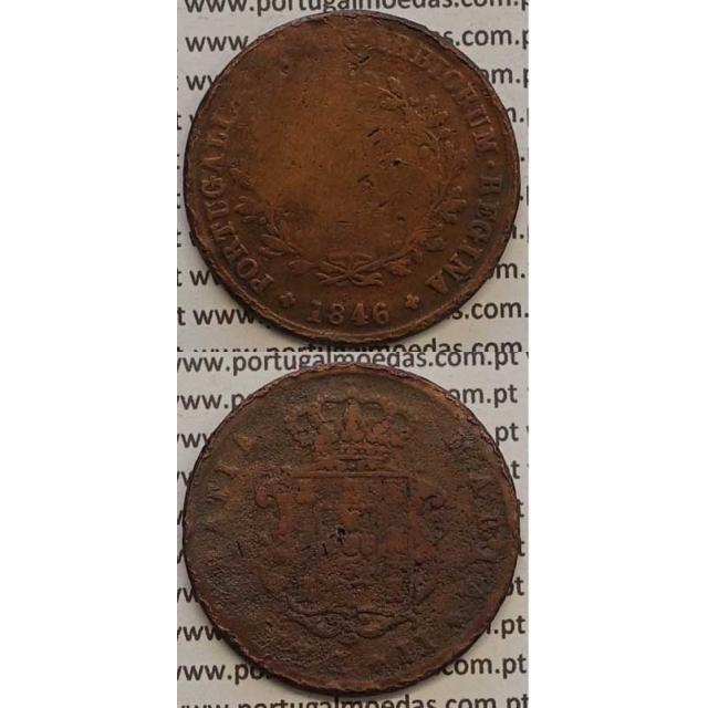MOEDA X REIS COBRE 1846 (BC-/REG) - D.MARIA II