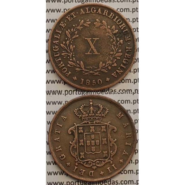 MOEDA X REIS COBRE 1850 (MBC) - D.MARIA II