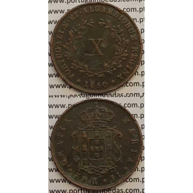 MOEDA X REIS COBRE 1850 (MBC-) - D.MARIA II