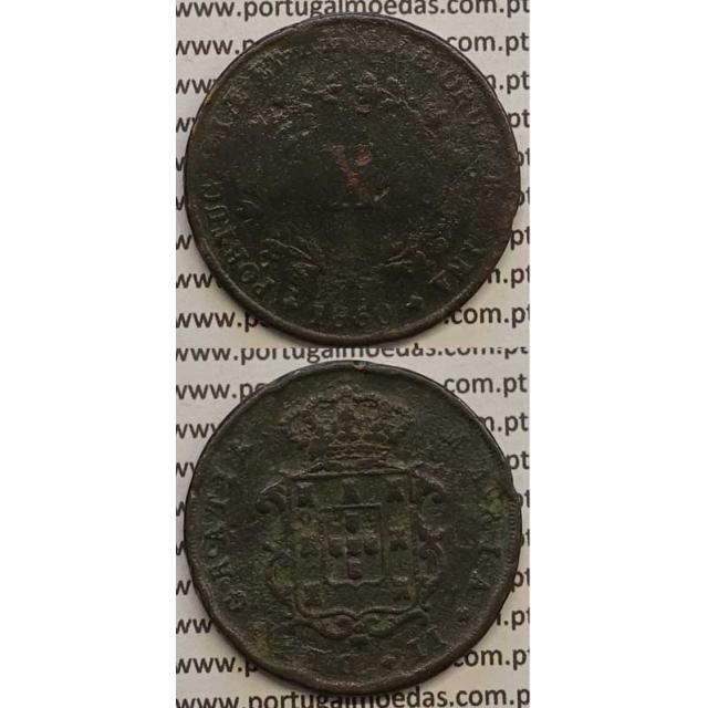 MOEDA X REIS COBRE 1850 (BC) - D.MARIA II