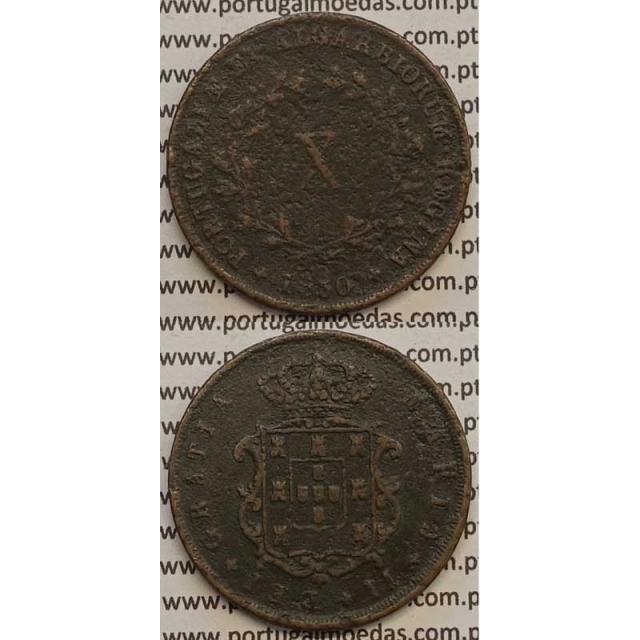 MOEDA X REIS COBRE 1850 (BC-) - D.MARIA II