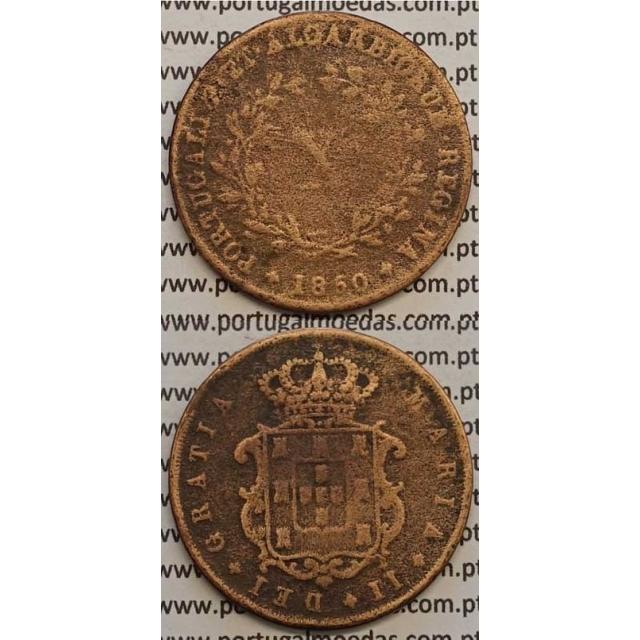 MOEDA X REIS COBRE 1850 (BC-/REG) - D.MARIA II