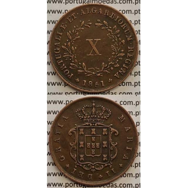 MOEDA X REIS COBRE 1851 (MBC+/BELA) - D.MARIA II