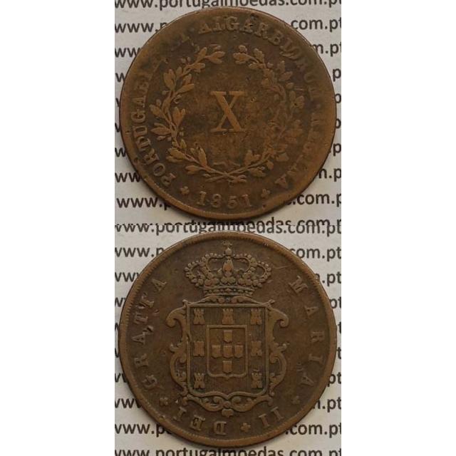 MOEDA X REIS COBRE 1851 (BC+/MBC-) - D.MARIA II