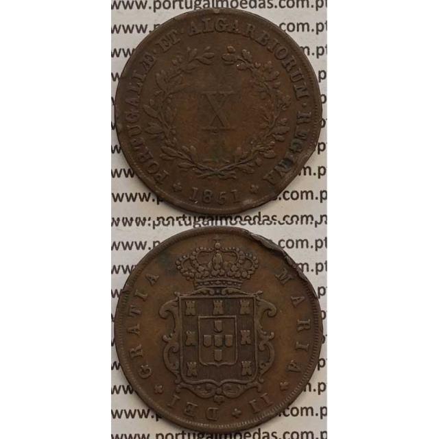 MOEDA X REIS COBRE 1851 (MBC) - D.MARIA II