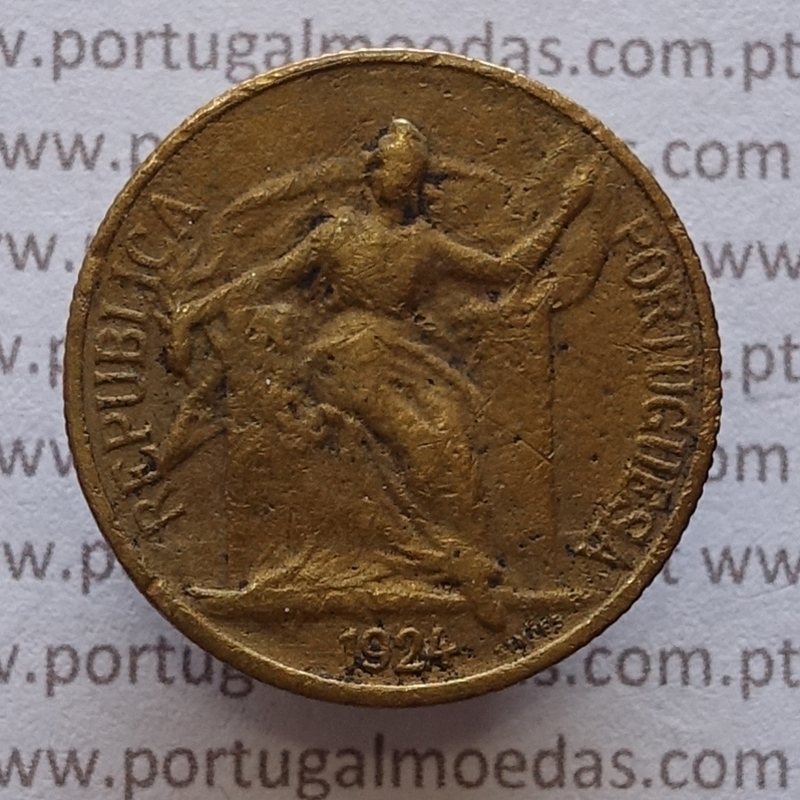 50 Centavos 1924 Bronze-Alumínio, $50 centavos 1924 Alumínio-Bronze Republica Portuguesa, (BC), World Coins Portugal KM 575