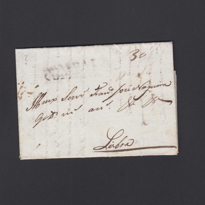 Carta Pré-Filatélica circulada de Coimbra para Lisboa datada de 26-03-1832