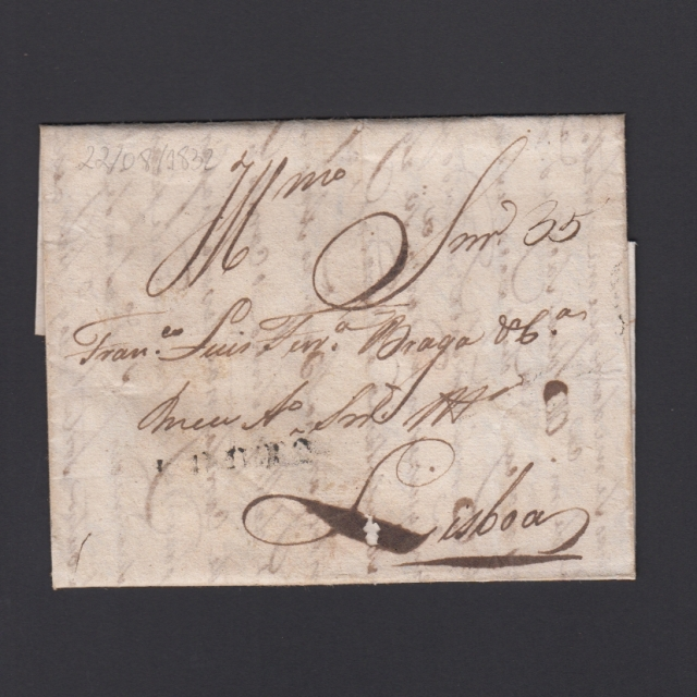 Carta Pré-Filatélica circulada de Coimbra para Lisboa datada de 22-08-1832