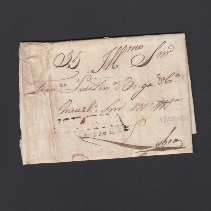 Carta Pré-Filatélica circulada de Coimbra para Lisboa datada de 15-09-1832