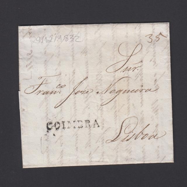 Carta Pré-Filatélica circulada de Coimbra para Lisboa datada de 29-12-1832