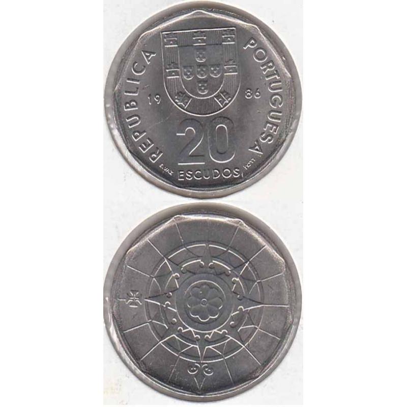 Vinte Escudos (20$00) cupro-níquel 1986