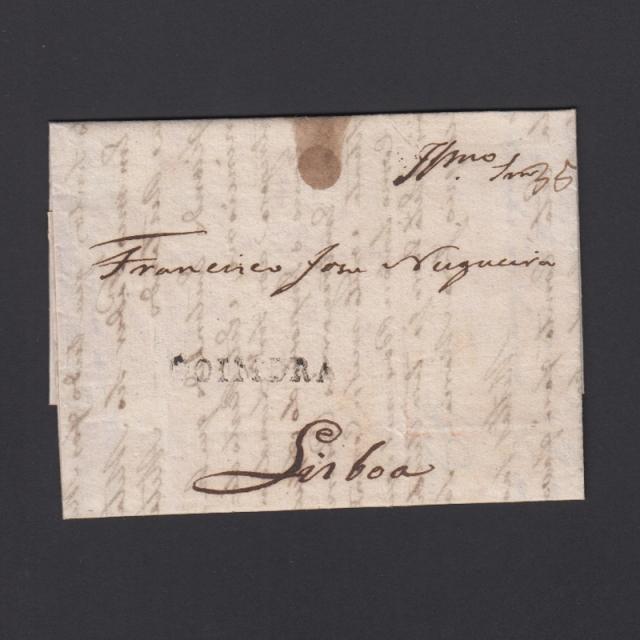 Carta Pré-Filatélica circulada de Coimbra para Lisboa datada de 27-03-1833