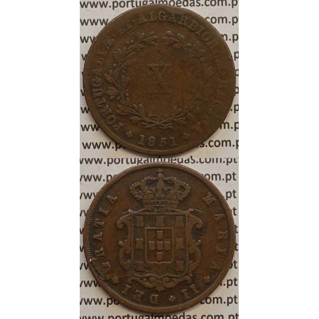MOEDA X REIS COBRE 1851 (BC) - D.MARIA II