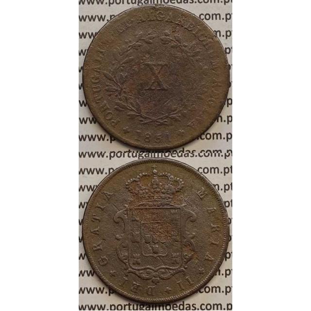 MOEDA X REIS COBRE 1851 (BC-) - D.MARIA II
