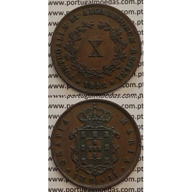 MOEDA X REIS COBRE 1852 (MBC+/BELA) - D.MARIA II