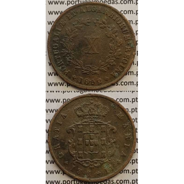 MOEDA X REIS COBRE 1852 (MBC) - D.MARIA II