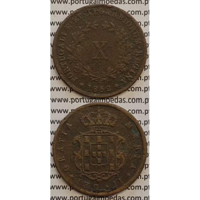 MOEDA X REIS COBRE 1852 (BC+) - D.MARIA II