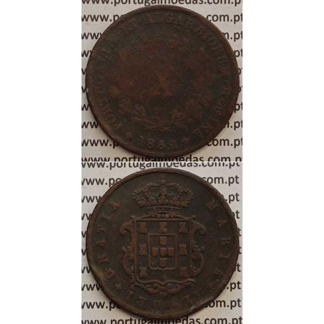 MOEDA X REIS COBRE 1852 (BC-/REG) - D.MARIA II