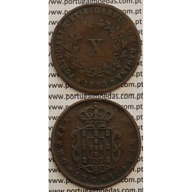 MOEDA X REIS COBRE 1853 (MBC) - D.MARIA II