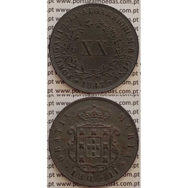 MOEDA XX REIS COBRE 1847 (MBC+/BELA) - D.MARIA II