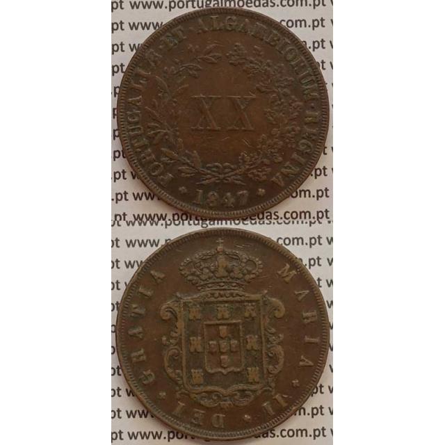 MOEDA XX REIS COBRE 1847 (MBC) - D.MARIA II