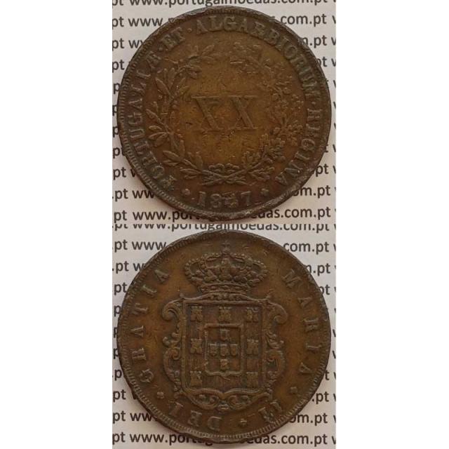 MOEDA XX REIS COBRE 1847 (BC+/MBC-) - D.MARIA II