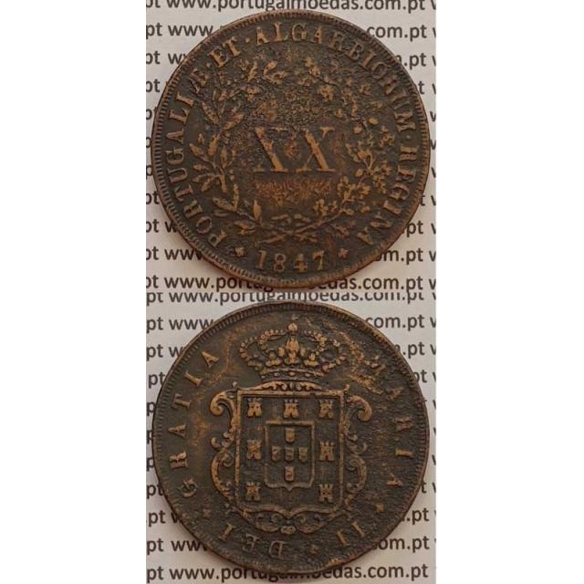 MOEDA XX REIS COBRE 1847 (BC+) - D.MARIA II