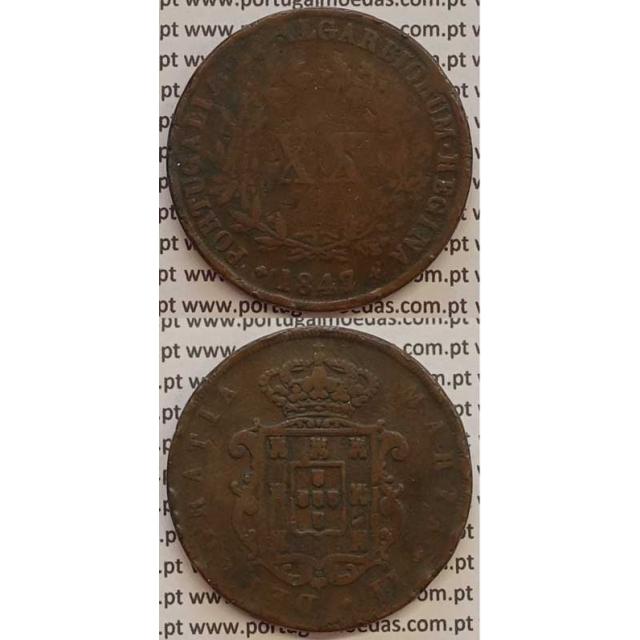 MOEDA XX REIS COBRE 1847 (BC) - D.MARIA II