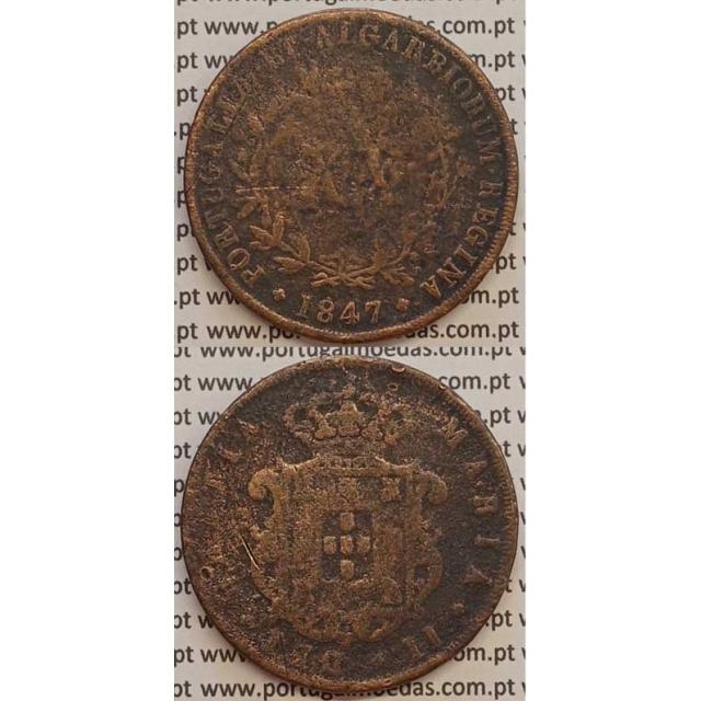 MOEDA XX REIS COBRE 1847 (BC-/REG) - D.MARIA II