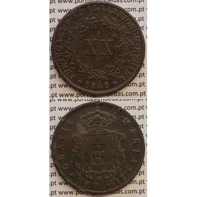MOEDA XX REIS COBRE 1848 (MBC) - D.MARIA II